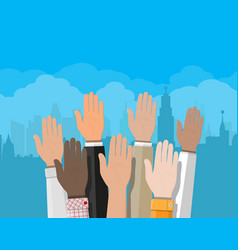 raised up hands people vote hands vector image