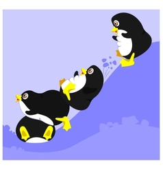 Four penguins vector