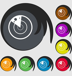Radar icon sign symbols on eight colored buttons vector