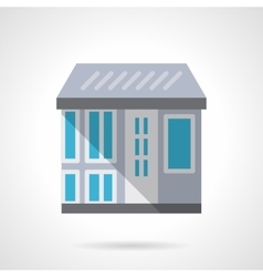 City storefronts flat color design icon vector image