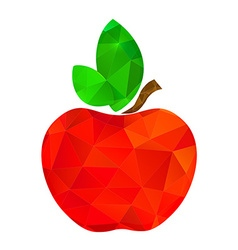 red apple polygon with two green leaves vector image
