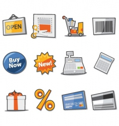 Shopping icons fresh collection vector