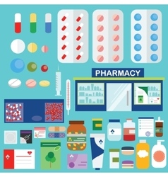 Pharmacy and medical icons infographic elements vector