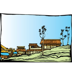 Japanese Village vector image