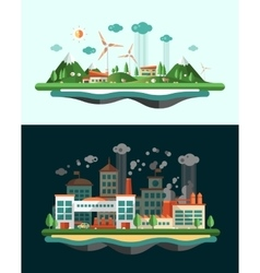 Wasted and green landscapes - ecological banners vector