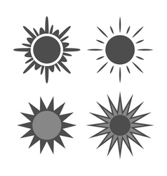 Sun icons set gray isolated white vector