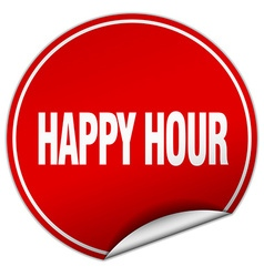 Happy hour round red sticker isolated on white vector
