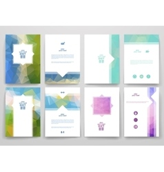 Set of brochures in poligonal style on diet theme vector