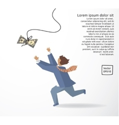 Businessman catch money dollar run flat drawing vector