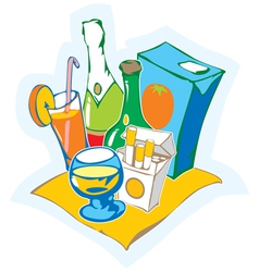 Still life with drinks vector