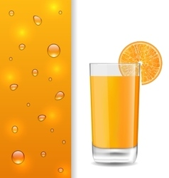 Advertise banner with orange beverage and drops vector