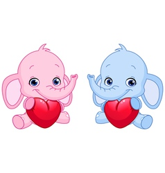 Baby elephants holding hearts vector