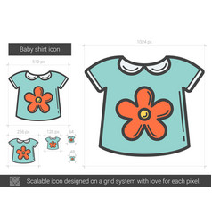 Baby shirt line icon vector