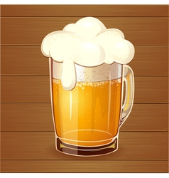 Beer in glass realistic vector