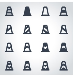 black traffic cone icon set vector image vector image