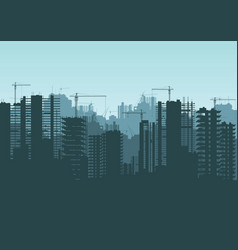 buildings under construction and building cranes vector image vector image