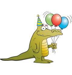 Cartoon Party Alligator vector image vector image