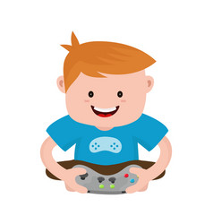 cheerful happy boy young man hold joystick vector image