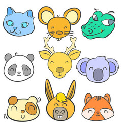 doodle of cute animal colorful style vector image