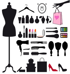 Fashion and beauty set vector