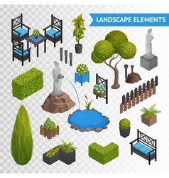 Garden park elements transperent set vector