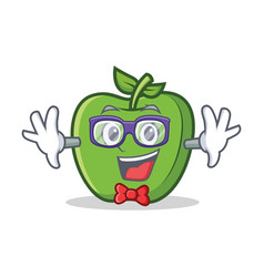 Geek green apple character cartoon vector