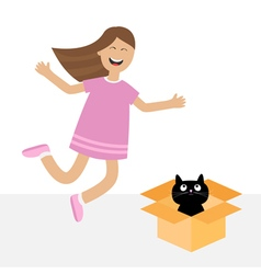 Girl jumping Gift box with black little cat animal vector image vector image