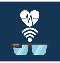 Glasses technology heart pulse application media vector