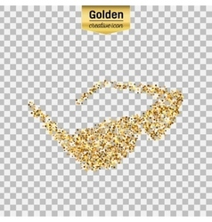 Gold glitter icon of sun glasses isolated vector