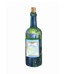 Green bottle of wine watercolor prewew vector