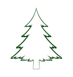 Green silhouette pine tree christmas celebration vector