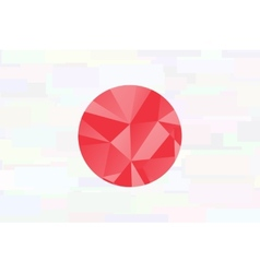 Japan flag - triangular polygonal pattern on pond vector image