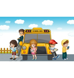 Kids standing by bus vector image