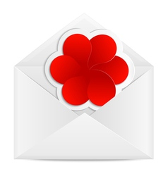 Paper envelope with a red flower vector image vector image
