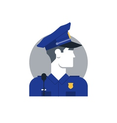 Police officer side view turned head vector image vector image