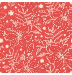 Red and beige tropical floral seamless vector