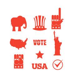 Republican elephant elections icon set symbols of vector