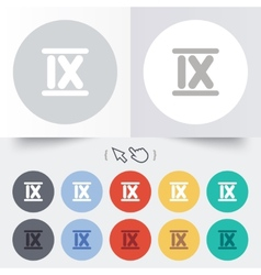 Roman numeral nine icon Roman number nine sign vector image vector image