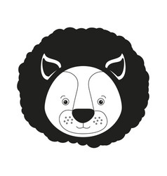 sketch silhouette monochrome caricature face lion vector image