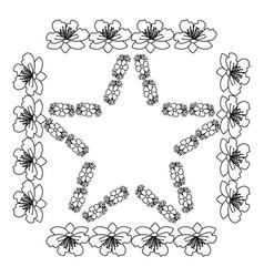 Star shaped floral frame vector