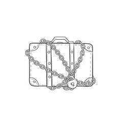Suitcase with chain and lock vector