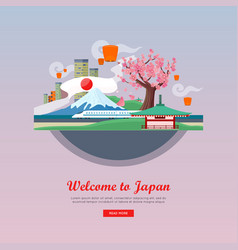 Welcome to japan flat style web banner vector
