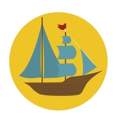 Boat wood marine icon vector