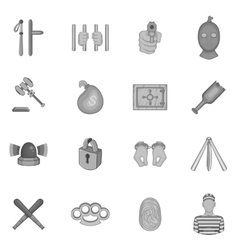 Crime icons set black monochrome style vector