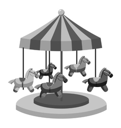 Carousel with horses icon gray monochrome style vector