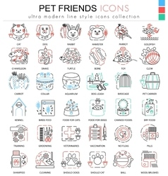 Pet friend color line outline icons for vector