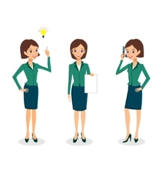 Business woman character set vector image