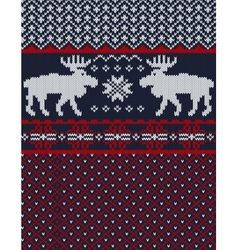 Knitted background with Christmas deers and vector image