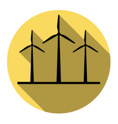 Wind turbines sign  flat black icon with vector