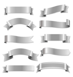 big silver ribbons set vector image